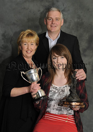 Colman and Kathleen Burns with thier daughter Niamh who received the Glor na Gael Award for Irish Studies and the Bank Of Ireland Award for English 10W45N616