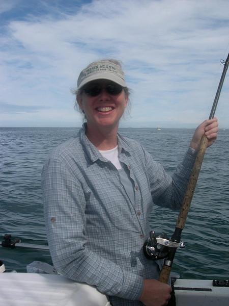 Mitzi grins after landing the BIGGEST Salmon.