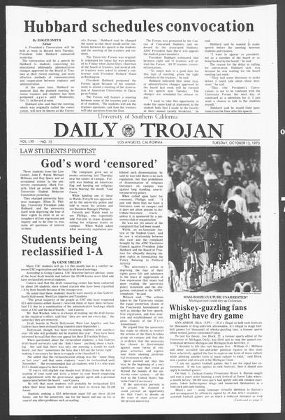 Daily Trojan, Vol. 62, No. 15, October 13, 1970
