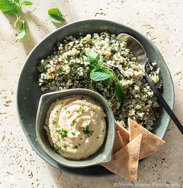 Dolmas Salad with Roasted Cauliflower Rice