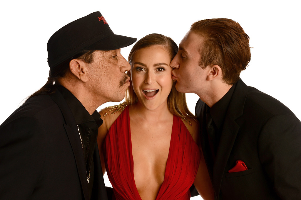 . PASADENA, CA - SEPTEMBER 27:  (L-R) Actors Danny Trejo, Alexa Vega, and Daryl Sabara pose in the portrait studio during the 2013 NCLR ALMA Awards at Pasadena Civic Auditorium on September 27, 2013 in Pasadena, California.  (Photo by Mark Davis/Getty Images for NCLR)