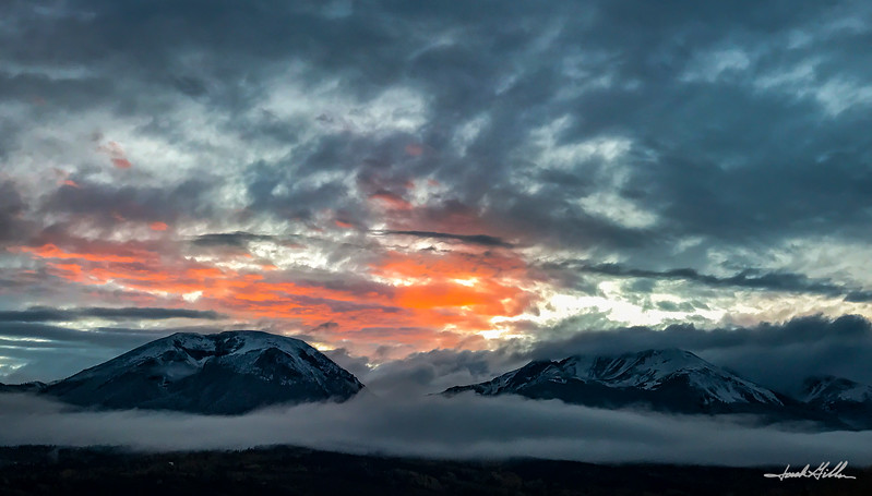 In the clouds at sunset,Buffalo and Silverthorne Mountains