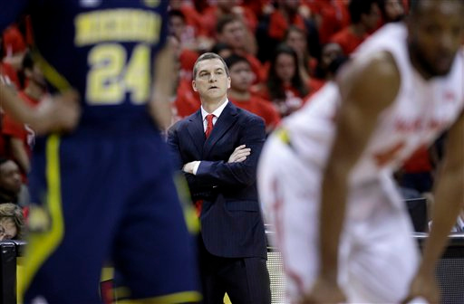 . Maryland head coach Mark Turgeon looks on in the first half of an NCAA college basketball game against Michigan, Saturday, Feb. 28, 2015, in College Park, Md. (AP Photo/Patrick Semansky)