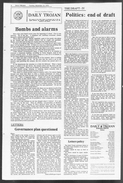 Daily Trojan, Vol. 62, No. 35, November 10, 1970