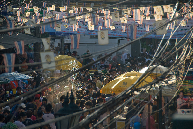 Overhead shot of the crowd at the 2010 Songkran Festival