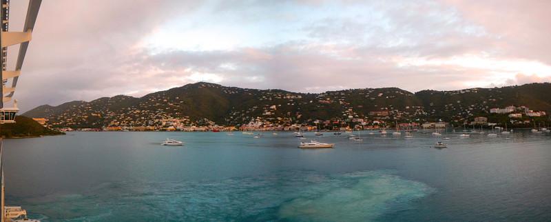 Sunrise in Charlotte Amalie, St. Thomas, waiting to disembark.
