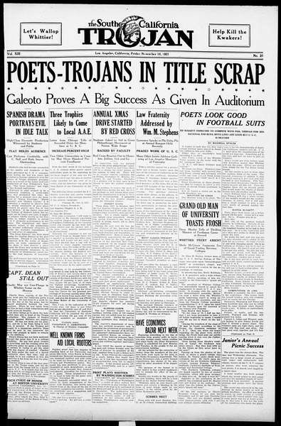 The Southern California Trojan, Vol. 13, No. 21, November 18, 1921