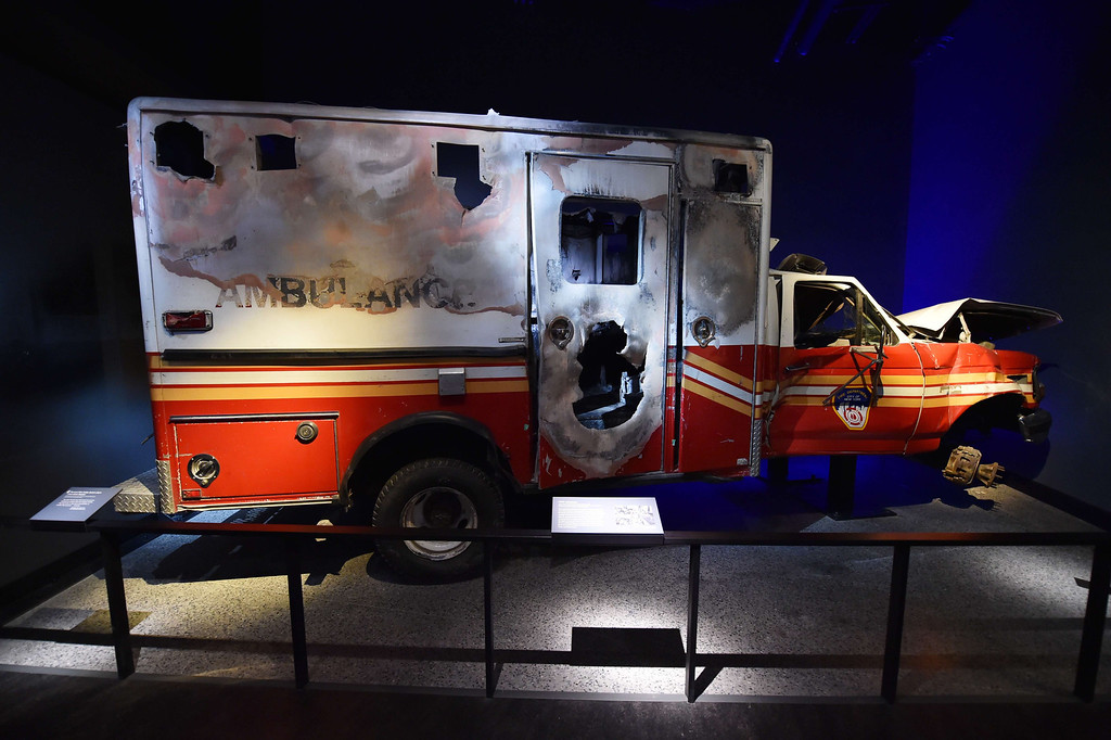 . A New York Fire Department ambulance, is seen during a press preview of the National September 11 Memorial Museum at the World Trade Center site May 14, 2014 in New York. AFP PHOTO/Stan  HONDA/AFP/Getty Images
