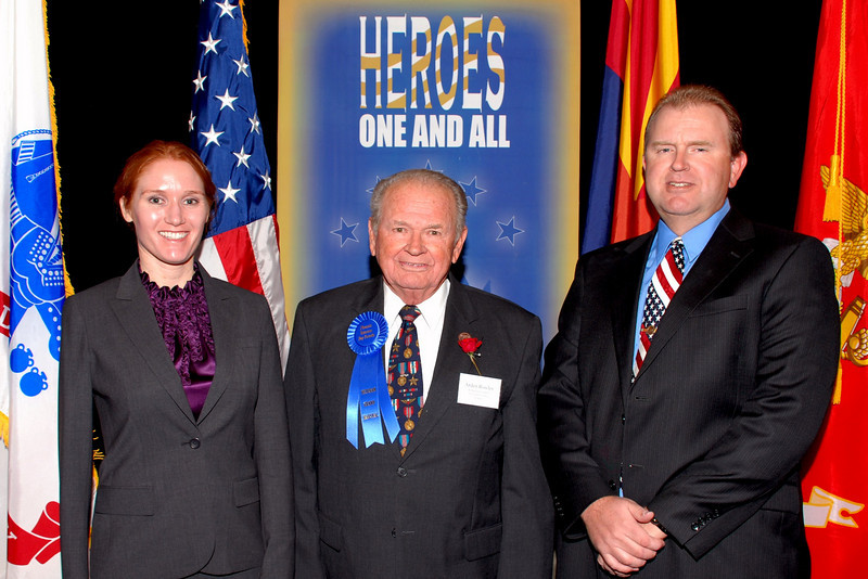 Dawn Halfaker, Veteran Grand Marshal Arden Rowley and Brad Rowley