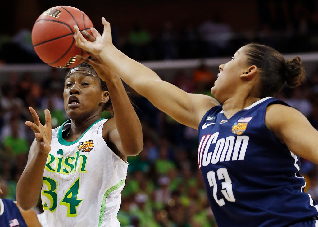 . Notre Dame forward Markisha Wright (34) and Connecticut forward Kaleena Mosqueda-Lewis (23) reach for a rebound in the first half of the women\'s NCAA Final Four college basketball tournament semifinal, Sunday, April 7, 2013, in New Orleans. (AP Photo/Dave Martin)