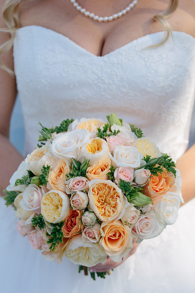 Apricot and Peach coloured Bouquet