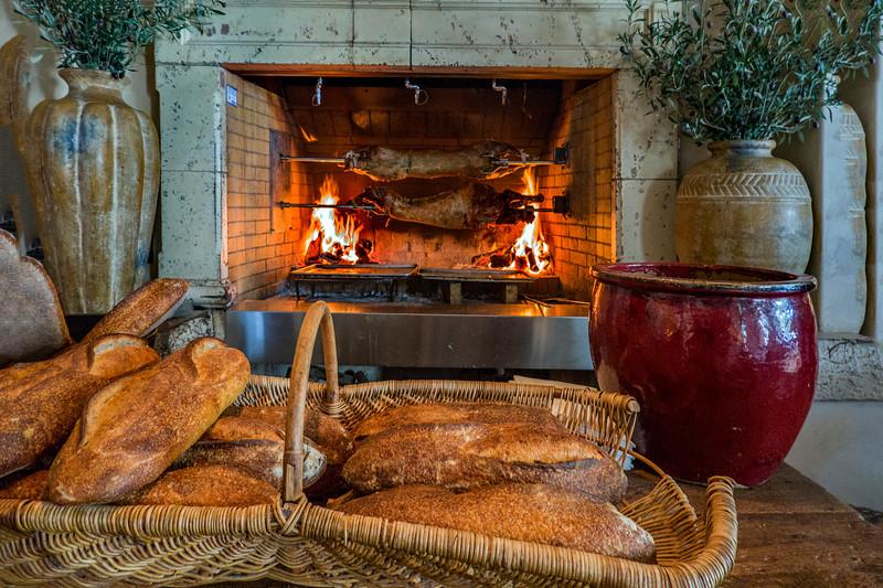Lamb on spit in fireplace - Ludmila Kesselleva-Eggleton birthday lunch - Kokkari Restaurant, 200 Jackson St, San Francisco, CA  94111, United States