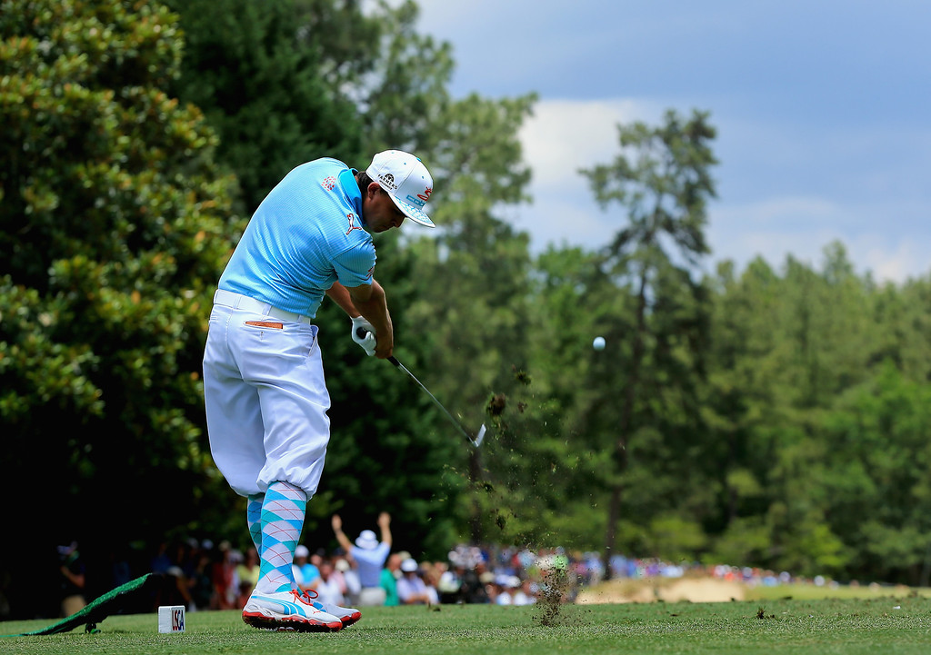. Rickie Fowler of the United States hits his tee shot on the ninth hole during the first round of the 114th U.S. Open at Pinehurst Resort & Country Club, Course No. 2 on June 12, 2014 in Pinehurst, North Carolina.  (Photo by David Cannon/Getty Images)