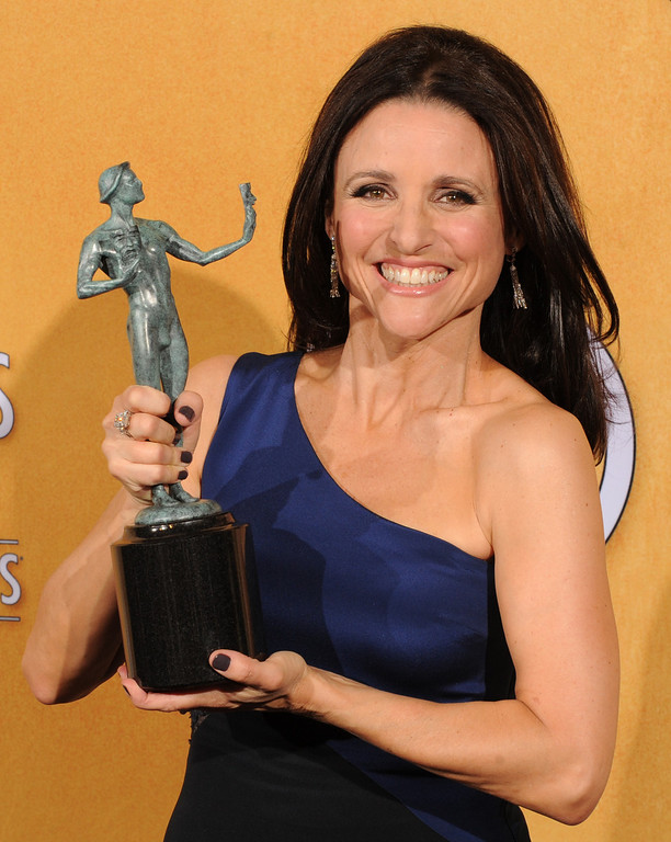 . Julia Louis-Dreyfus backstage at the 20th Annual Screen Actors Guild Awards  at the Shrine Auditorium in Los Angeles, California on Saturday January 18, 2014 (Photo by John McCoy / Los Angeles Daily News)