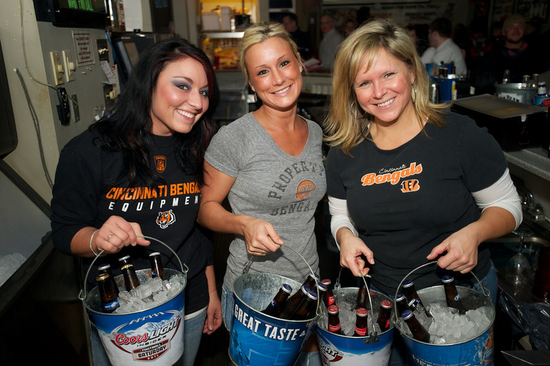 Ashley, Erin and Lori tend bar at Jerzees for the Bengals game Saturday