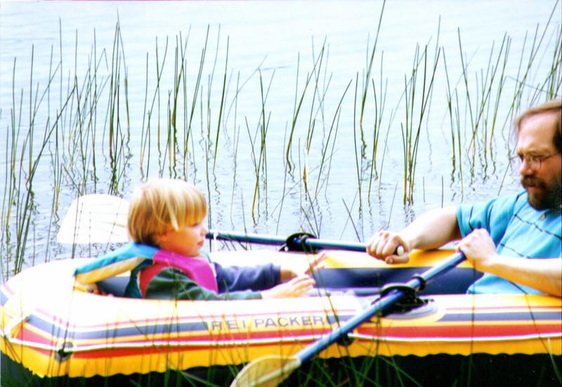 Alina & Dave, Afloat on Wik Lake, August 1996, .jpg