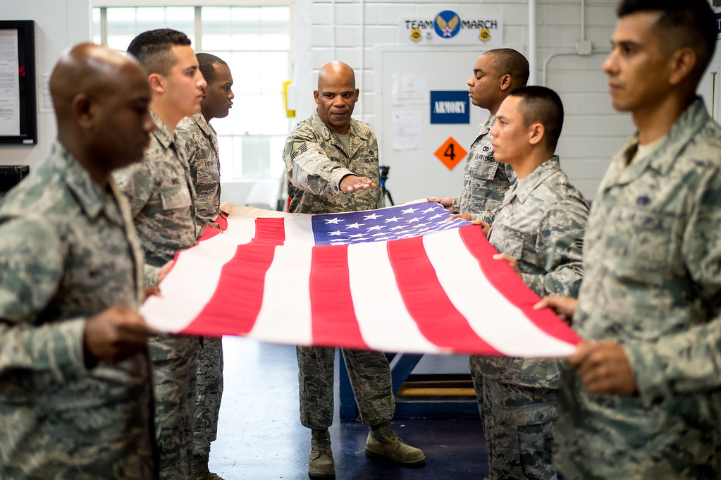 . Master Sgt. Darryl Willingham gives orders to the members of the Blue Eagles Honor Guard during a training at March Air Reserve Base in Riverside, Calif. on Tuesday, May 12, 2015. (Photo by Watchara Phomicinda/ Los Angeles Daily News)