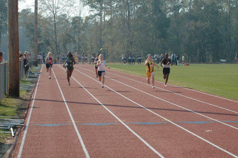First race of the day, Heat 1 of the Girls' 100m is underway.