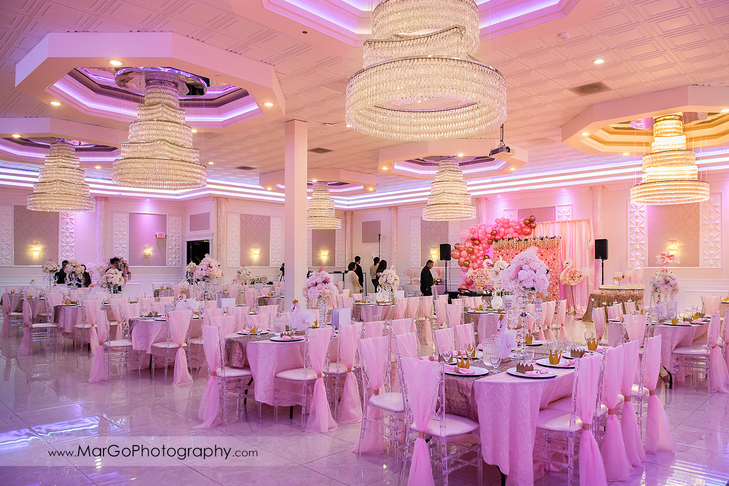 pink theme ballroom decor at Newark Oasis Palace