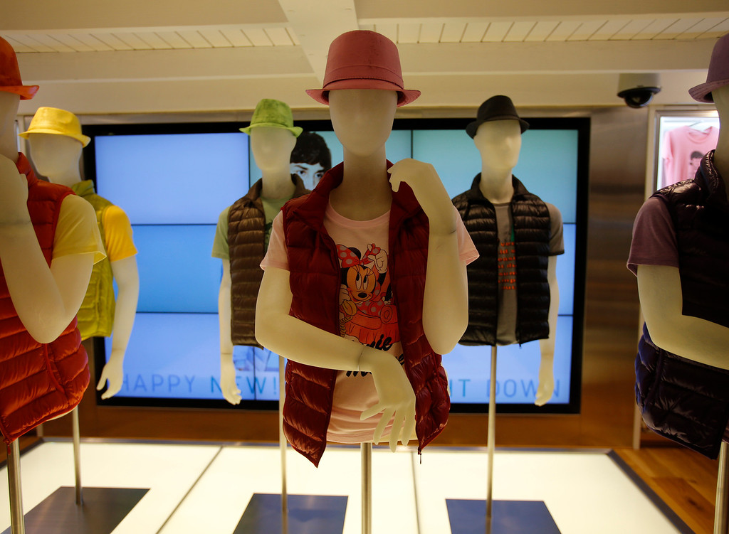 . Mannequins on display on the main floor of the Uniqlo clothing store on Powell St. in downtown San Francisco, Calif. on Thursday, Jan. 17, 2013.  They opened their store in San Francisco in October 2012.  (Nhat V. Meyer/Staff)