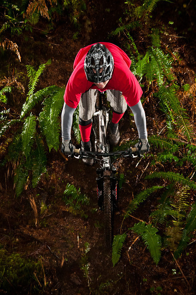 A Mountain bike rider dips down some single track into a small ravine in the Cascade Mountains.