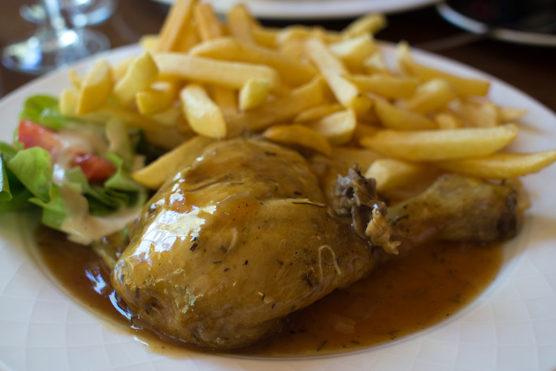 My first meal in Paris, chicken and genuine French fries