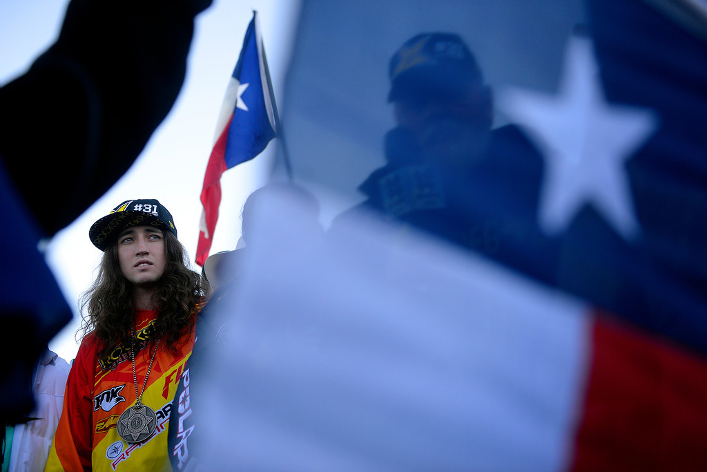 . ASPEN, CO - JANUARY 25: Colten Moore stands during a celebration of his late brother, Caleb, who was killed in the snowmobile freestyle event at the 2013 X Games Aspen. X Games Aspen at Buttermilk on Friday, January 25, 2014. (Photo by AAron Ontiveroz/The Denver Post)
