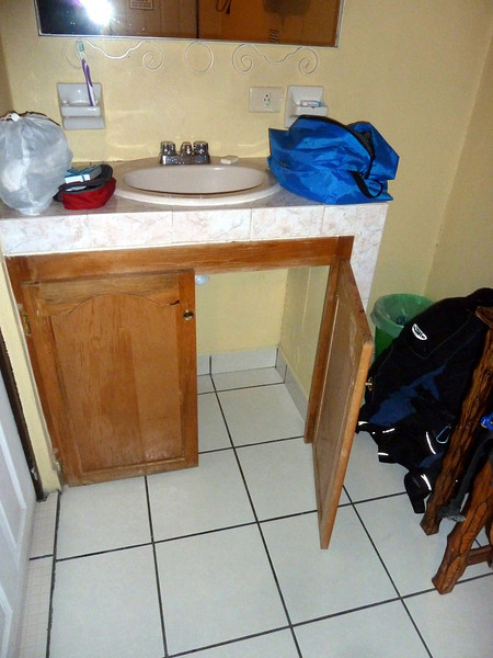 I like the simplicity of the cabinet- they just continue the flooring under the sink. Of course that means there's no kick.