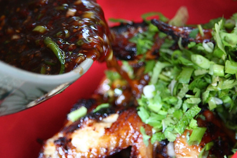"A relaxing meal at home with the flavors of our favorite Vietnamese/Thai join in PDX, Pok Pok The ""signature"" Pok Pok style wing sauce I made from scratch consists of Fishsauce, Soy, green onion, crushed red pepper, lime juice,brown sugar etc.  OMG so good..and Thai chilis!!"
