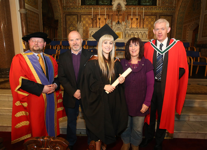 Pictured is Grace Power, Waterford who graduated Bachelor of Arts (Hons) in Legal Studies with Business. Also pictured is Dr. Derek O'Byrne, Registrar of Waterford Institute of Technology (WIT), Jimmy Power, Bernie Power, Dr Richard Hayes. Picture: Patrick Browne.