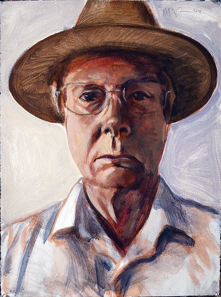 Self portrait in hat; acrylic on paper, 22 x 30 in, 2018