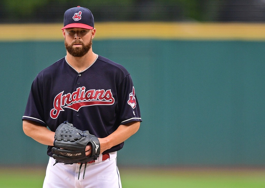 . Cleveland Indians starting pitcher Corey Kluber stands on the mound in the first inning of a baseball game against the Los Angeles Angels, Thursday, Aug. 11, 2016, in Cleveland. The Indians won 14-4. (AP Photo/David Dermer)