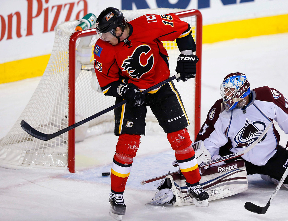 . Calgary Flames\' Tim Jackman (L) and Colorado Avalanche\' goalie Jean-Sebastien Giguere watch the puck bounce off the goal post during the first period of their NHL hockey game in Calgary, Alberta, January 31, 2013. REUTERS/Todd Korol