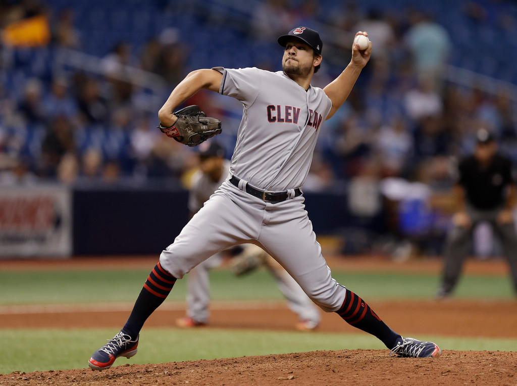 . Cleveland Indians pitcher Brad Hand during the ninth inning of a baseball game against the Tampa Bay Rays Monday, Sept. 10, 2018, in St. Petersburg, Fla. (AP Photo/Chris O\'Meara)