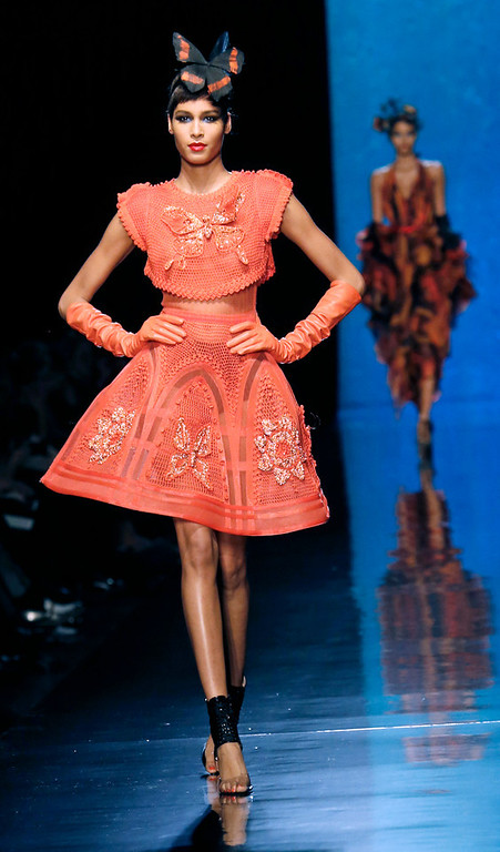 . A model wears a creation as part of the Jean-Paul Gaultier\'s Spring-Summer 2014 Haute Couture fashion collection, presented Wednesday, Jan. 22, 2014 in Paris. (AP Photo/Jacques Brinon)