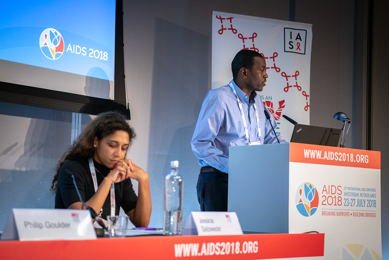 22nd International AIDS Conference (AIDS 2018) Amsterdam, Netherlands.   Copyright: Steve Forrest/Workers' Photos/ IAS  Photo shows: HIV Cure Research with the Community Workshop: Cure Research in Paediatric Population and Women. From Left to Right: C0-Chair Jessica Salzwedel, AVAC, United States; Thumb Ndung'u, University of KwaZulu-Natal, South Africa.