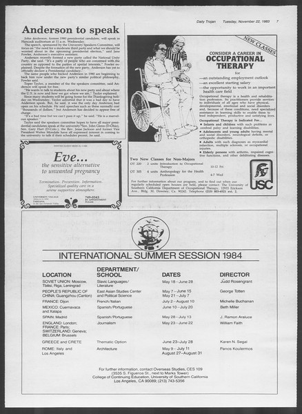 Daily Trojan, Vol. 94, No. 55, November 22, 1983