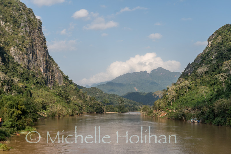 Looking over the Nam Ou River in Nong Khiaw, Laos