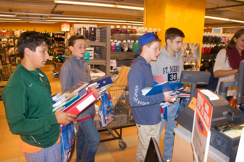 Lucas, Ryan, Charlie, White and Grace getting supplies at Migros