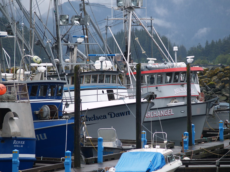 Boats of the fishing fleet docked at Crescent Harbor.