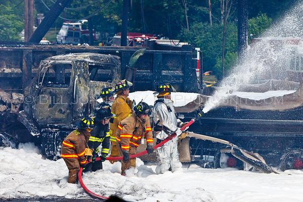 Fuel oil/gasoline local delivery truck vs. dump truck collision with fire. Rte 9W - Esopus Fire District - 6/29/2010