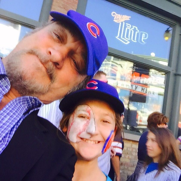 This has to be the ultimate good luck sign: @jim_belushi grabbed my phone for a selfie with @kaylakat25 before the game tonite! #GoCubsGo thanks JB!