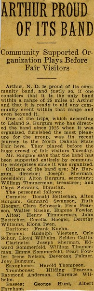 AR005.  Arthur Proud of its Band – news clipping - 1932‡.jpg
