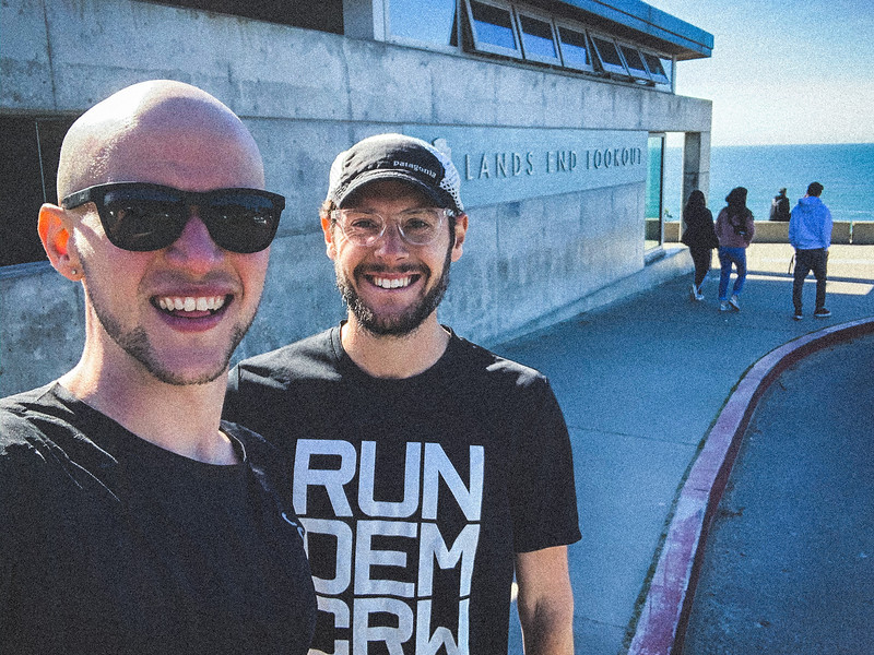 LUKE WICKER (R) and LIAM LONSDALE (L), celebrate their new FKT at the LANDS END LOOKOUT