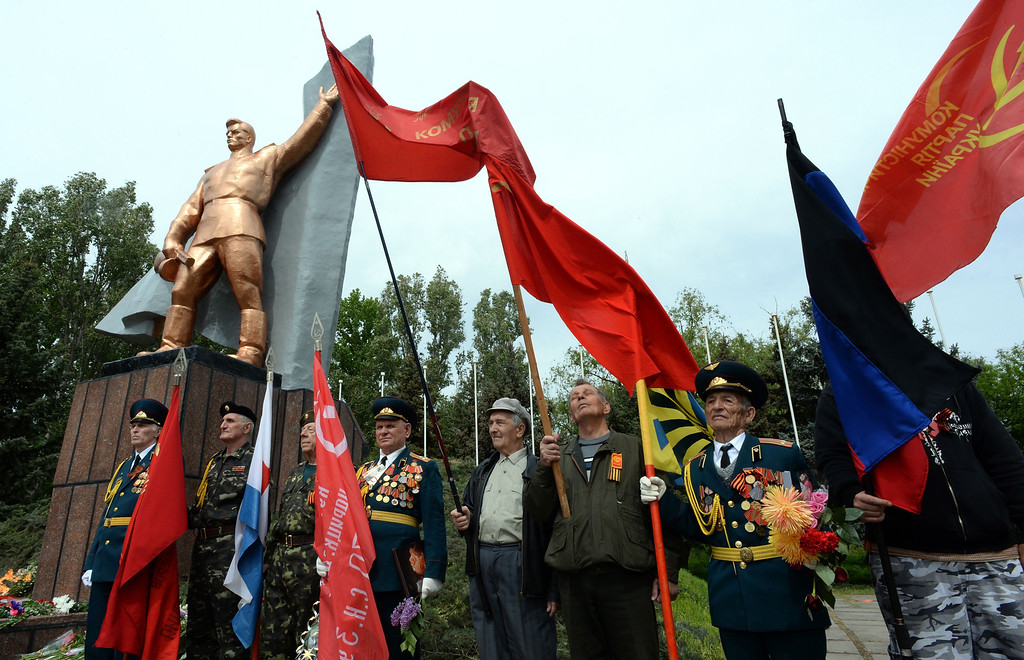 . Locals attend a celebration of the Victory Day in the eastern Ukrainian city of Slavyansk on May 9, 2014, to mark 69 years since victory in World War II.  AFP PHOTO / VASILY  MAXIMOV/AFP/Getty Images