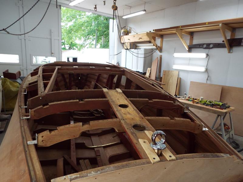 Rebuilding rear deck frames.