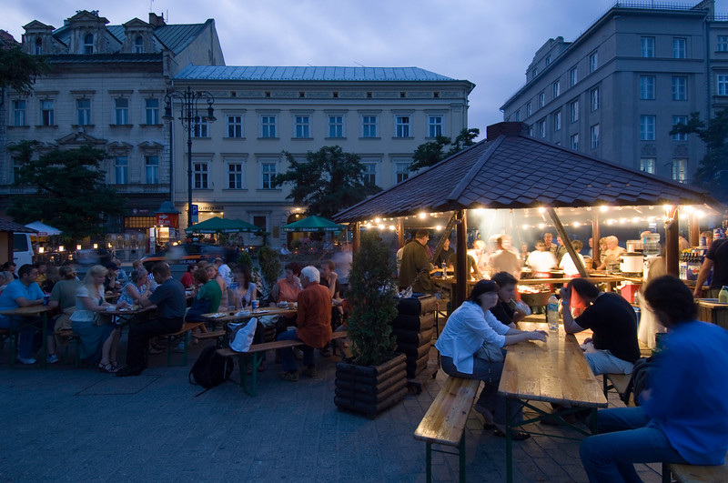 Poland, Cracow, grill and trditional Polish dishes served in the centre of Rynek Glowny