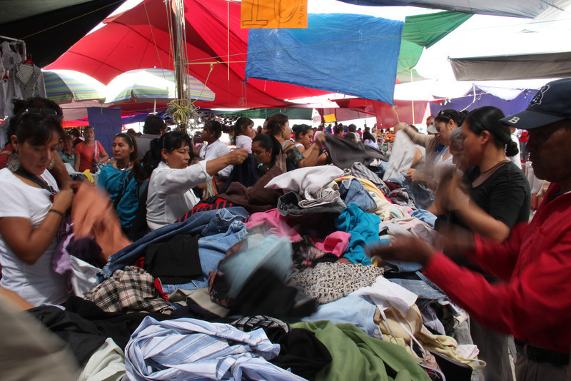 Flying clothes at Tuesday Market