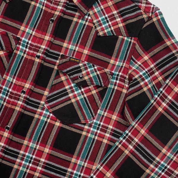 Black Crazy Check Ultra Heavy Flannel Western Shirt--2.jpg
