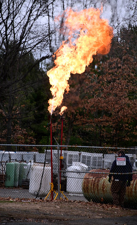 3/31/2020 Mike Orazzi | Staff Several called the Bristol fire department about routine gas flaring at the Amerigas on Middle Street in Bristol on Tuesday morning.